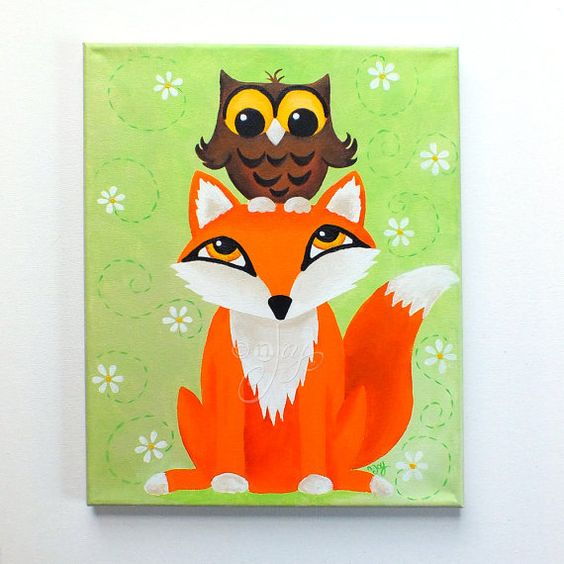 Fox owl painting kids room art 11x14 acrylic canvas for Kids room canvas