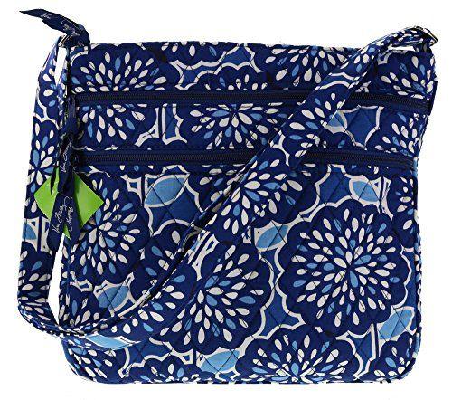 Vera Bradley Triple Zip Hipster Crossbody Shoulder Handbag in Petal Splash-current