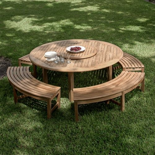 Buckingham Backless Set In 2020 Round Outdoor Table Outdoor Picnic Tables Teak Outdoor Furniture