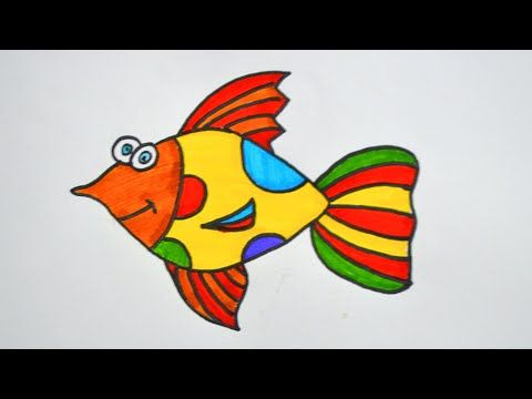How To Draw A Fish Easy Fish Drawing Fish Drawing Color Drawing For Kids Youtube Easy Fish Drawing Drawing For Kids Colorful Drawings