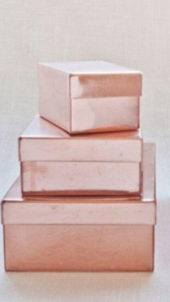 Rose Gold Metallic Boxes www.MadamPaloozaEmporium.com www.facebook.com/MadamPalooza
