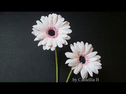 Diy How To Make Paper Gerbera Flower From Crepe Paper Easy And Realistic Youtube Hoa Cuc Họa Mi Hoa Thược Dược Hoa Giấy