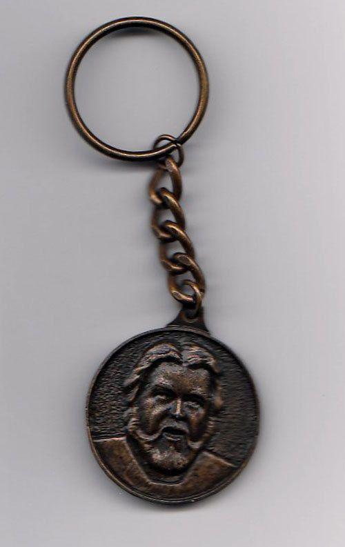 "1983 Kenny Rogers Key Chain Special Friend Bronzetone 1.5"" Diameter"