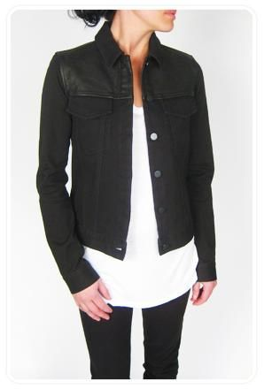 T by Alexander Wang Canvas Denim Jacket with Leather Detailing. Perfect jacket for Spring and Summer.