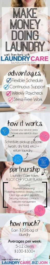 Learn how you can make money doing laundry. Making Money money making ideas