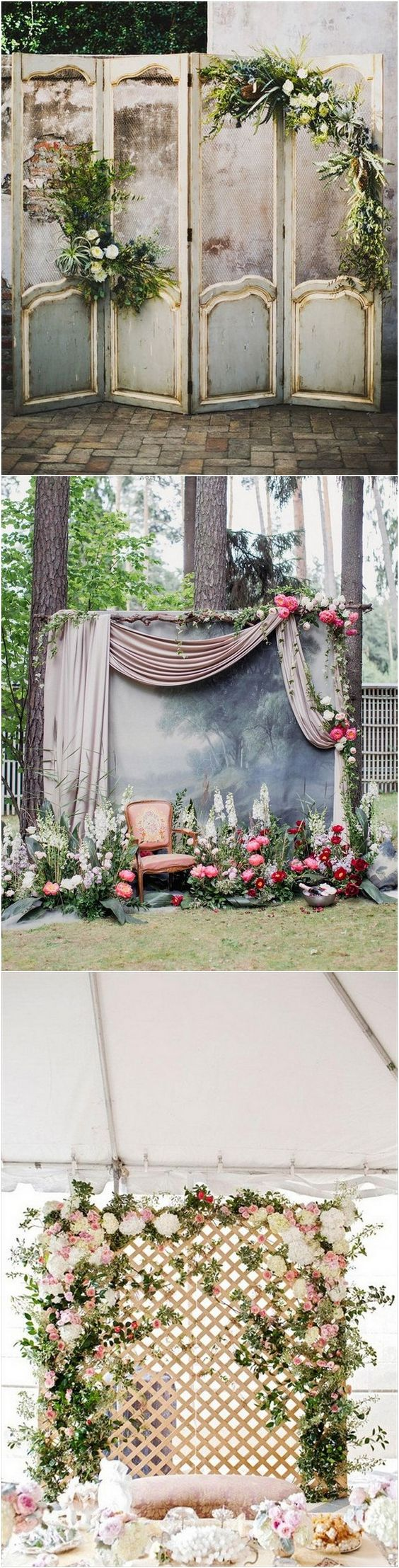 vintage door inspired wedding backdrop ideas with greenery decorations for your Luxury wedding Phuket