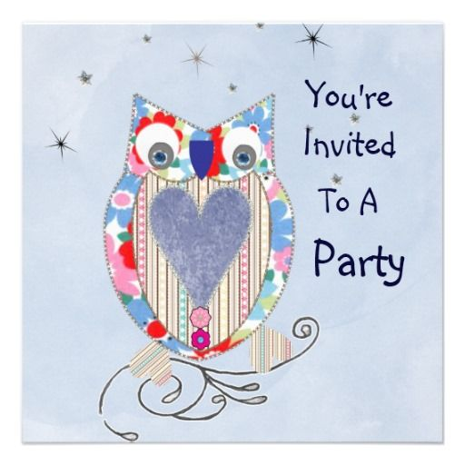 Cute Whimsical Owl Party Invitations  Such a cute whimsical owl in pinks and blues a lovely design on party invitations for boys or girls and so easy to personalize with your details.