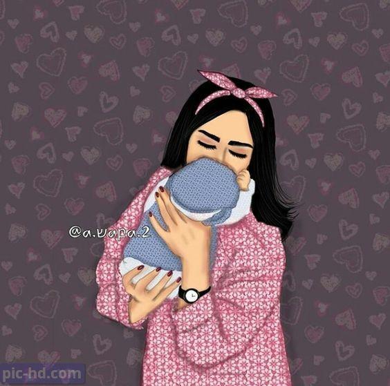 رمزيات بنات محجبات اجمل صور رمزيات بنات كيوت رمزيات كشخه للبنات Mother Daughter Art Girly Drawings Mom Art
