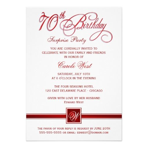 70th Birthday Surprise Party Invitations - Red | Birthday ...