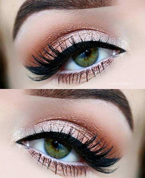 Champagne Orange Eye Makeup Look for Green Eyes