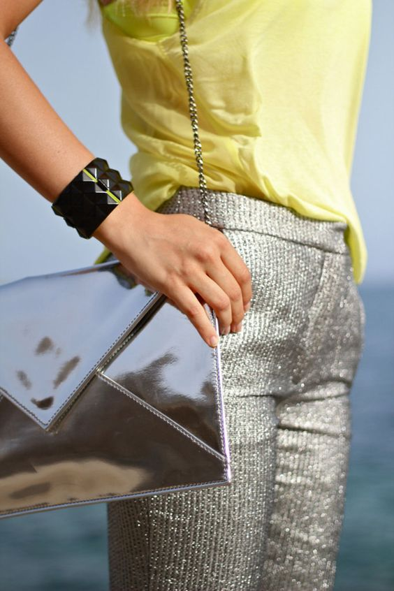 Silver envelope bag and these silver sequined pants!: