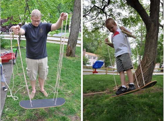 It only takes about 20 minutes to make this skateboard swing.   51 Budget Backyard DIYs That Are Borderline Genius