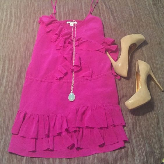 """Banana Republic Dress Super cute Banana Republic dress. Gently worn, comes from non smoking/pet home. Adjustable straps, drawstring waist. 100% silk, lining is 100% polyester. Dry Clean Only. Very flattering fit! Length is approx 22"""" when laid flat. Color is more like a fuchsia. Banana Republic Dresses Mini"""