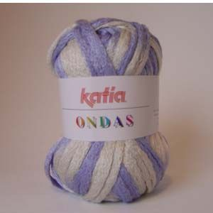 Lanas Katia - ONDAS50: Color Blanco 100%acrilico. Agujas nº5. 30 mt. Ideal para realizar bufandas caladas. Se adjunta instrucciones paso a paso en color.