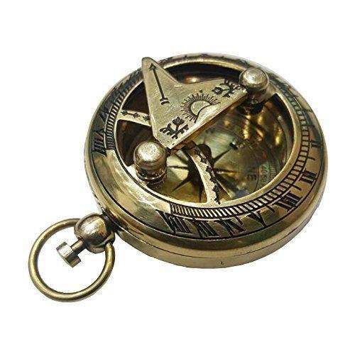 Pocket Sundial Pirate Compass NauticalMart Brass Push Button Direction Sundial Compass