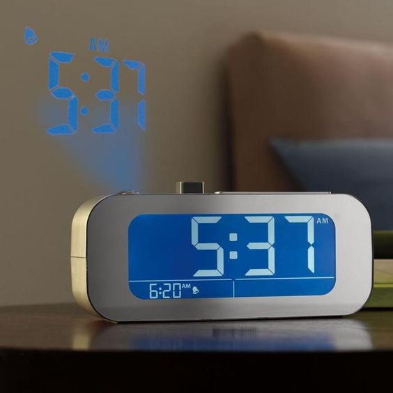 Sets itself and displays the time on your wall or ceiling in a sharp, high-quality image.