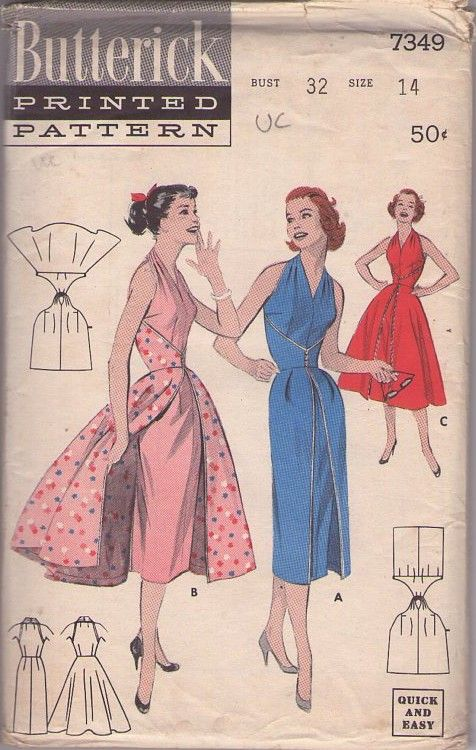 MOMSPatterns Vintage Sewing Patterns - Butterick 7349 Vintage 50's Sewing Pattern AMAZING Rockabilly Halter Top Wrap Around Sheath or Overskirt Party Dress LIKE The Walk-Away Dress Butterick 6015!: