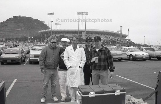 Enjoying a tailgate party at Candlestick Park with some co-worker buddies at a SF Giants vs LA Dodgers game on April 18, 1990.  We had a blast!