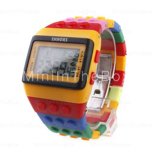 multicolore blocco di mattoni orologio da polso in stile con luce notturna led - giallo
