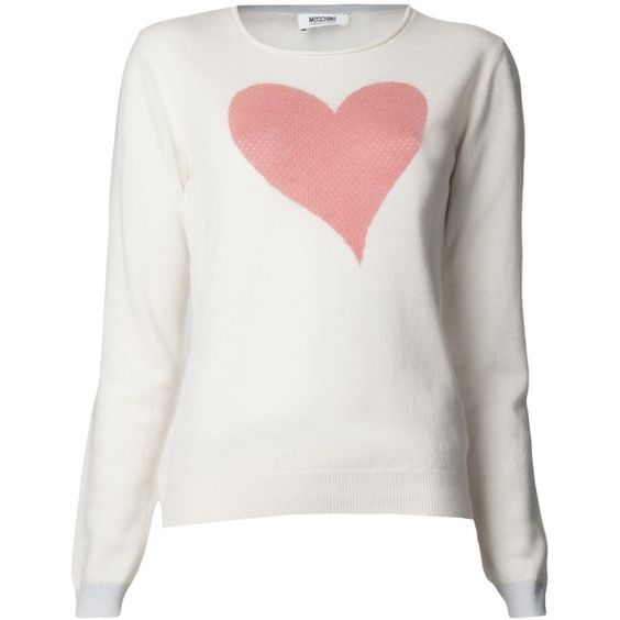 MOSCHINO CHEAP & CHIC heart sweater ($445) ❤ liked on Polyvore featuring tops, sweaters, shirts, jumpers, long sleeve shirts, pink shirt, pink long sleeve shirt, pink cashmere sweater and long-sleeve shirt