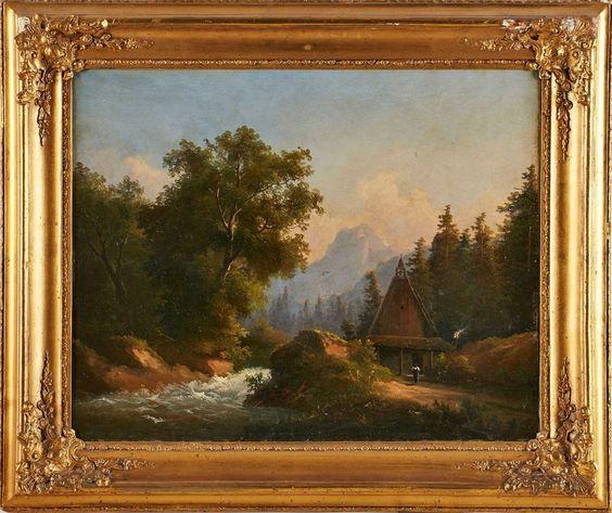 """Gemälde Landschaftsmaler um 1870""""Gebirgslandschaft mit sprudelndem Gebirgsbach"""" Öl/Lwd., 55,5 x 68"""
