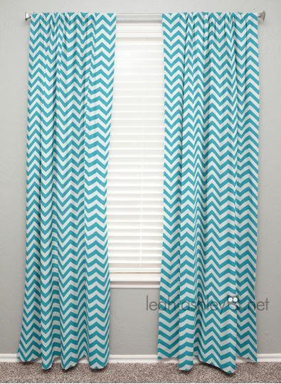 Curtain Panel   Turquoise Chevron   C1   FREE USA SHIPPING .
