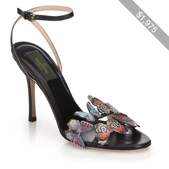 Valentino Butterfly Embellished Leather Sandals