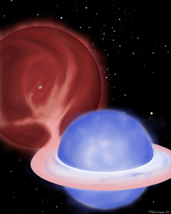 """Vampire star at work. Artist's concept of blue straggler and its companion. The red giant, losing its outer layers to its companion, will end up as a white dwarf. The other star - the blue straggler - appears to be much younger, than it is, for it has been """"feeding"""" off the other one.  (Credit: Aaron M. Geller)"""
