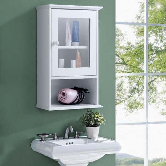 A Open Cubby And 2 Tier Cabinet With Tempered Glass Door This Cabinet Adds St Wall Mounted Bathroom Cabinets Wall Mounted Bathroom Storage Adjustable Shelving