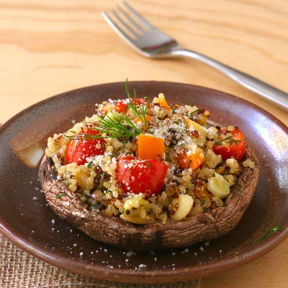 Quinoa-Stuffed Portobellos - Liz the Chef