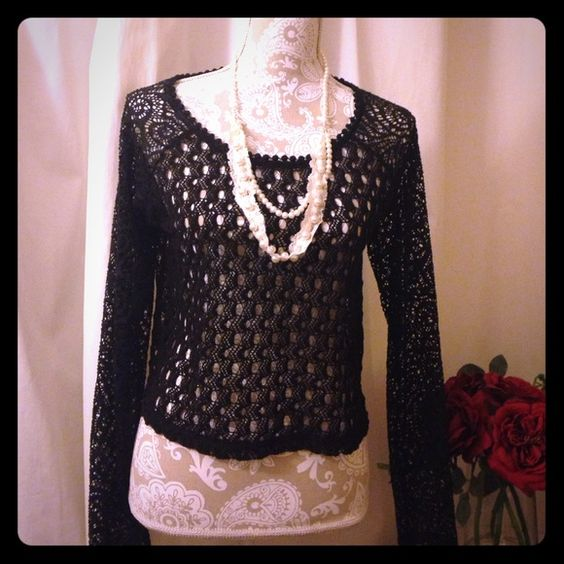 Long sleeve black crochet top Nwot, super cute. Can add any color Cami underneath. Similar to pic #4 not the same American Rag Tops Crop Tops