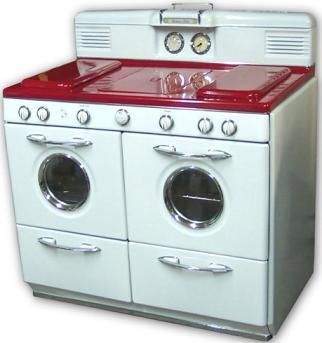 Red and white stove.