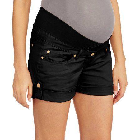 Oh! Mamma Maternity Crossover 3.5 inch Demi-Panel Woven Shorts, Size: Small, Black