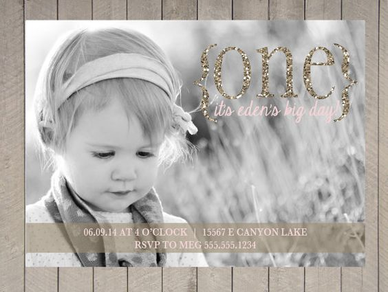 First Birthday Photo Card Girl Pink and Gold by DesignOnPaper