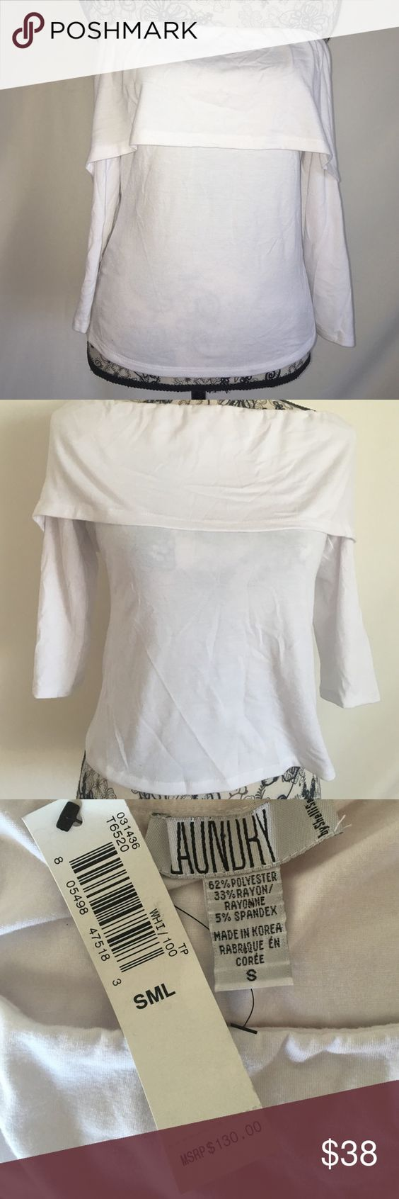 Laundry by Shelli Segal top Off the shoulder or on.  Shirt needs to be ironed, but NWT. Size small Laundry by Shelli Segal Tops