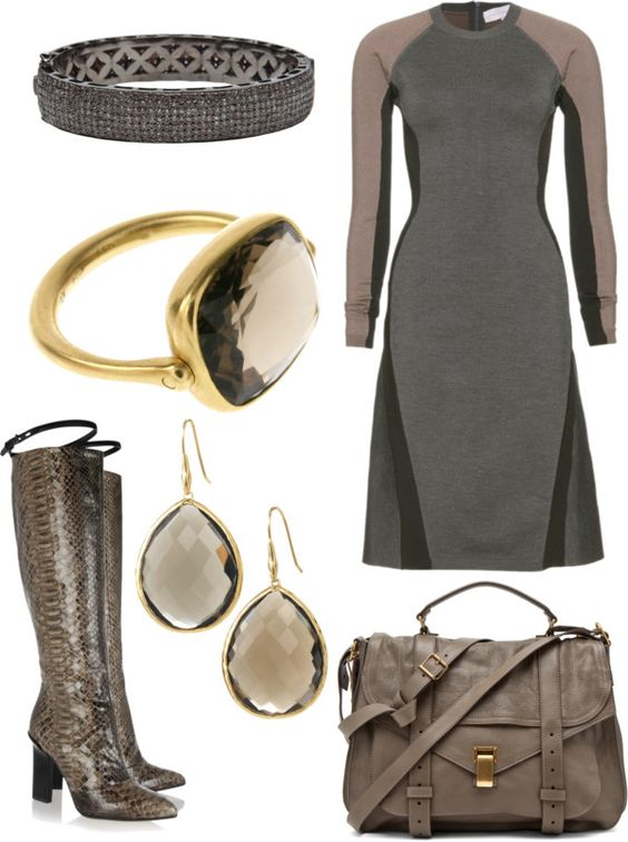 """taupe and grey"" by shelly-douglas-koehler ❤ liked on Polyvore"