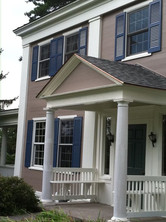 Light gray siding with blue front door and shutters home for Light gray taupe paint