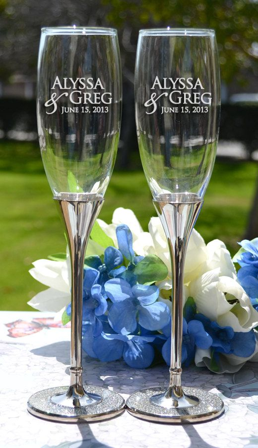 Pair Glittering Champagne Flutes - Custom Toasting Flutes - Personalized Champagne Glasses - Wedding Gift