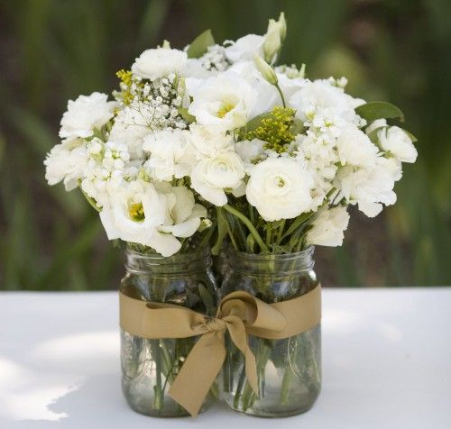 Flowers in clustered mason jars, held together with a ribbon.: Wedding Idea, White Flower, Party Idea, Mason Jar Centerpiece, Center Piece