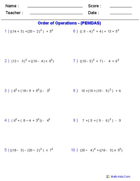 Use These Free Algebra Worksheets to Practice Your Order of - order of operations worksheet