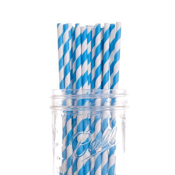 Paper Straw Striped Blue DMC7621 50pcs