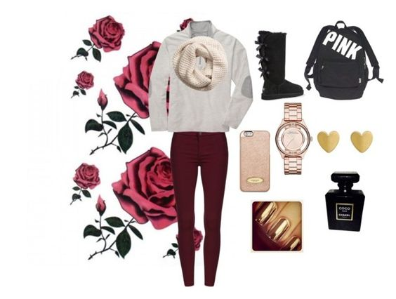 """""""Winter chill"""" by katherinecat14 ❤ liked on Polyvore featuring Southern Proper, UGG Australia, Victoria's Secret, MICHAEL Michael Kors, H&M, Marc Jacobs and Chanel"""