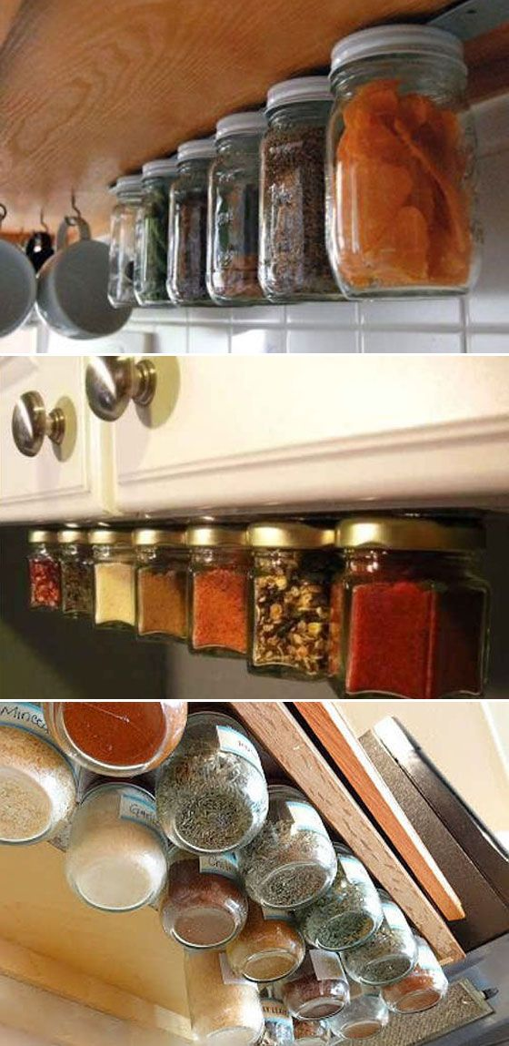Just use an IKEA magnetic knife strip and baby jars to build a floating spice rack under kitchen cupboards.