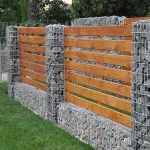 Cloture Gabion Et Bois Murs De Soutenement De Jardin Cloture
