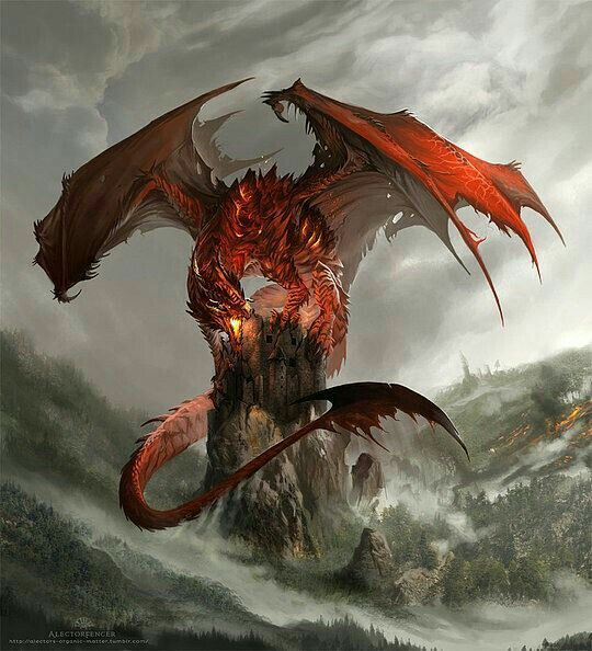 Red, dragon, rock, forest; Dragons