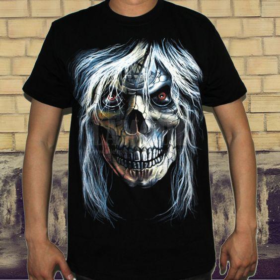Cráneo Pelo Largo Classic Rock Band camiseta del envío de los hombres frescos Metal Punk 3D Tee algodón lycra Harly Davison Estilo Negro gratuito en Camisetas de Moda y Complementos Hombre en AliExpress.com   Alibaba Group