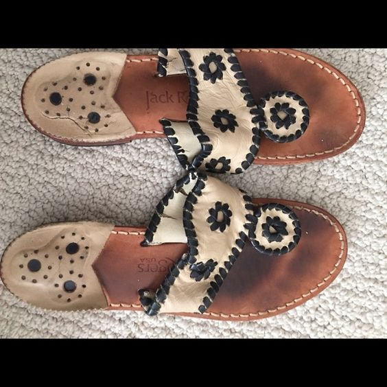 Jack Rogers sandals Well loves and worn only has a little bit of life left ( bunch of rips in the leather and heel leather peeling up) ( right shoes much worse then left) size 6 Jack Rogers Shoes Sandals