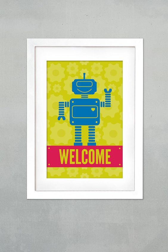 Robot Party Welcome Sign Printable/Print by littlemagicprints