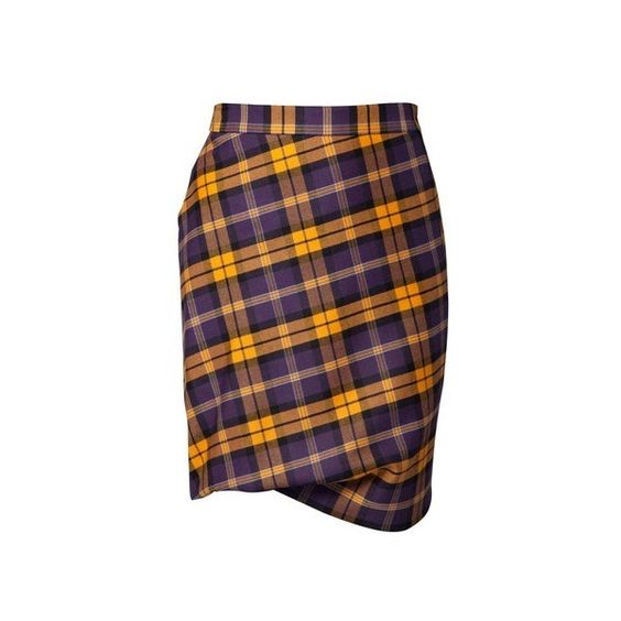Vivienne Westwood Taxi Yellow and Plum Tartan Skirt ($140) ❤ liked on Polyvore featuring skirts, bottoms, plaid, gonne, yellow skirts, plaid skirt, plum skirt, tartan skirt and yellow tartan skirt