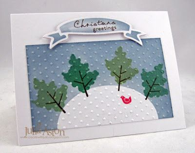 Create With Me: WMS Christmas Card Challenge for April - Birds and Trees... Great tutorial!  :)